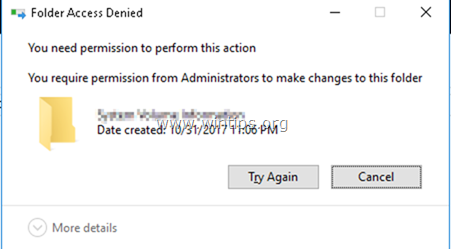 folder access denied - You need permission to perform this action