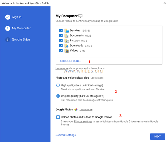 Google Backup and sync computer settings