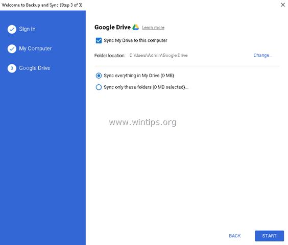 Google Backup and sync google drive settings