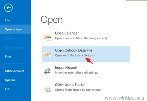 outlook open pst data file