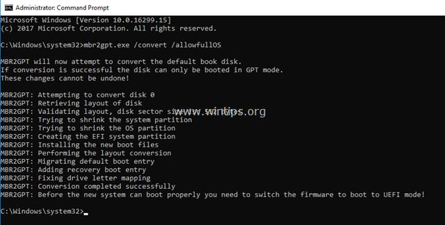 convert mbr to gpt windows 10