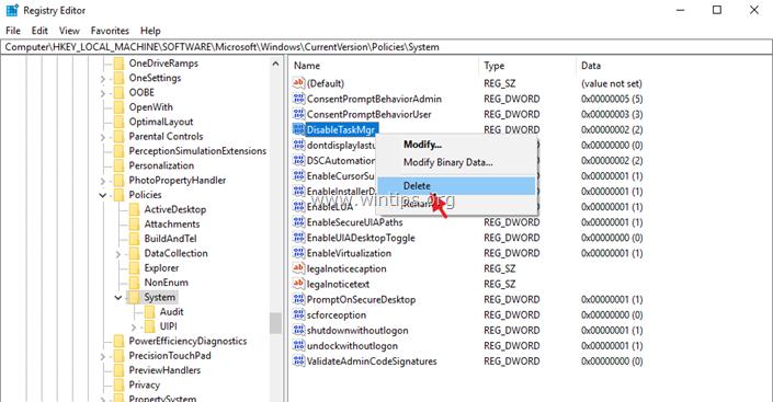 Task Manager is Disabled registry