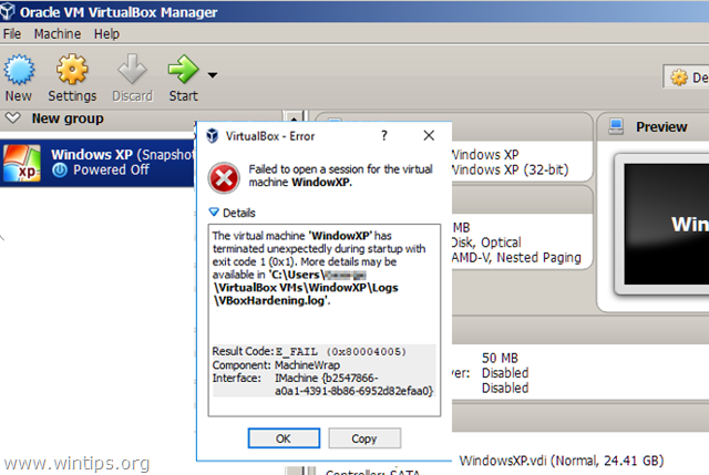 VirtualBox Failed to open session for Virtual Machine