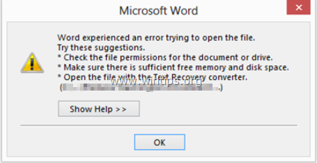Solved: Word experienced an error trying to open the file in Outlook