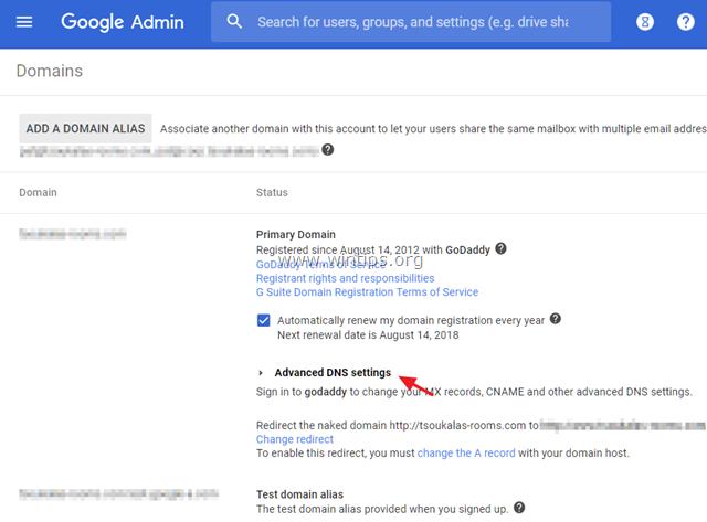 modify dns google site