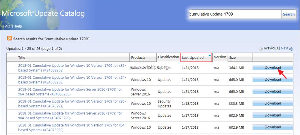 update windows 10 version 1709 to 1809