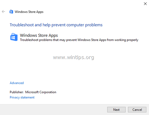 store apps troubleshooter - windows 10-8-8.1