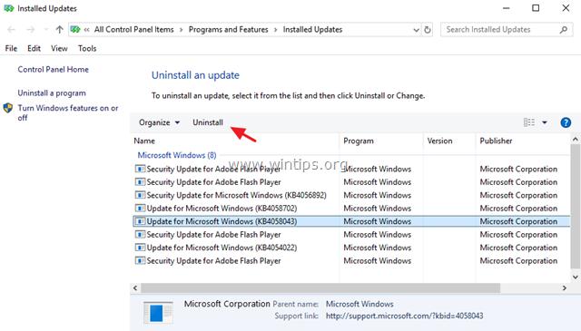 uninstall update windows 10