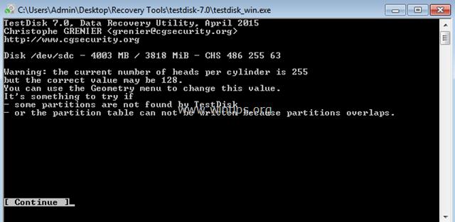 testdisk search for files