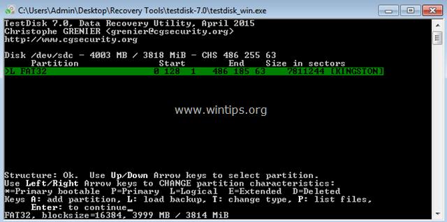 testdisk list files