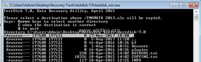 testdisk copy files