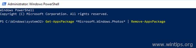 uninstall photos app windows 10