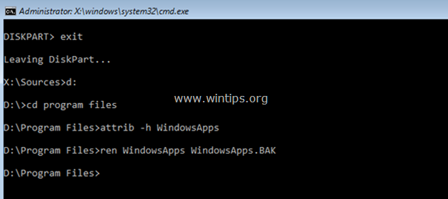 rename windowsapps from command prompt