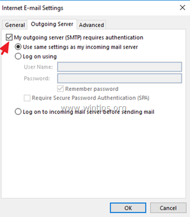 Outlook Outgoing Server Authentication