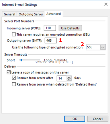 Outlook Outgoing Server PORT and Encryption