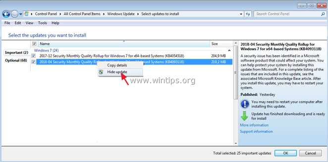 Hide Updates in Windows 7