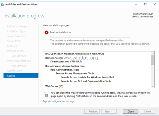 Unable to Add Roles and Features on Server 2016 because the Server Requires Restart