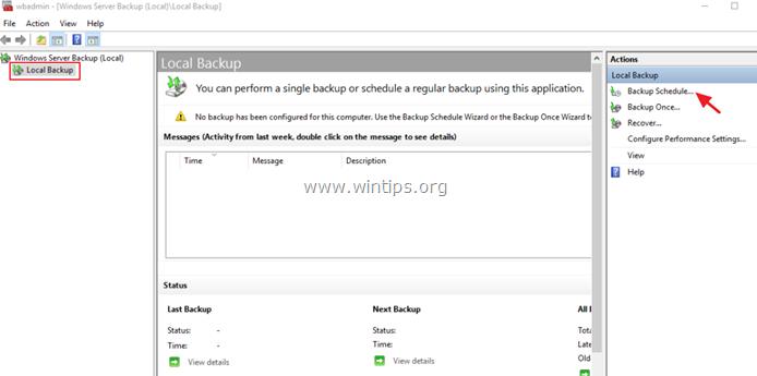 windows server backup server 2016