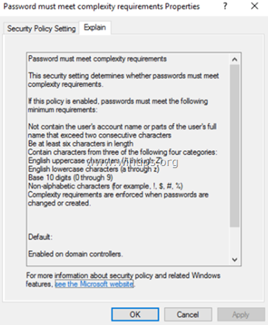 Disable Password Complexity requirements in Server 2016