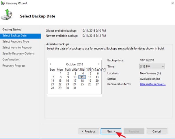 restore folders files server 2012
