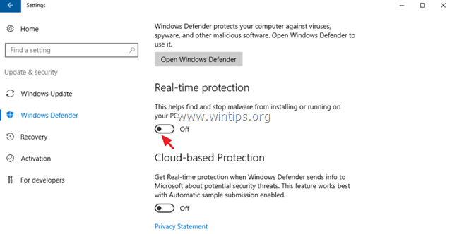 turn off Real Time Protection server 2016