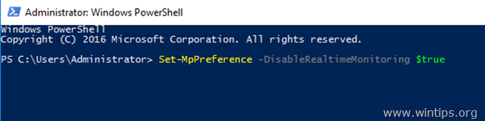 disable windows defender server 2016 - powershell