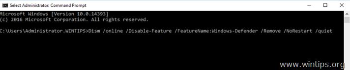 Remove Windows Defender Server 2016 - DISM commnad