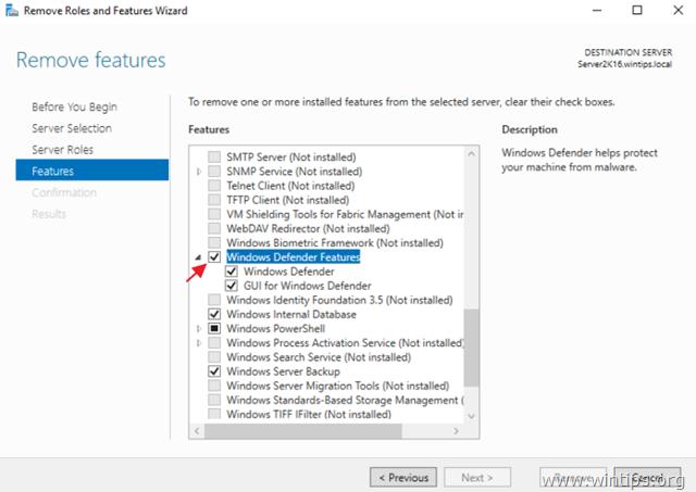 Remove Windows Defender feature Server 2016