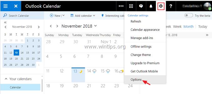 Export Outlook.com Calendar
