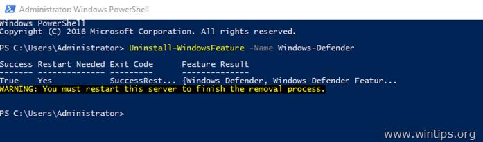 uninstall windows defender server 2016 - powershell
