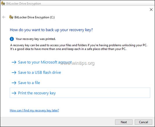 bitlocker recovery options windows 10