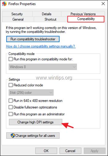 Change DPI Settings for Application Windows 10