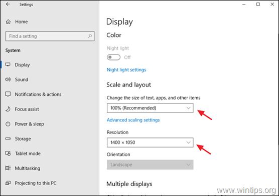 adjust dpi scaling - resolution windows 10