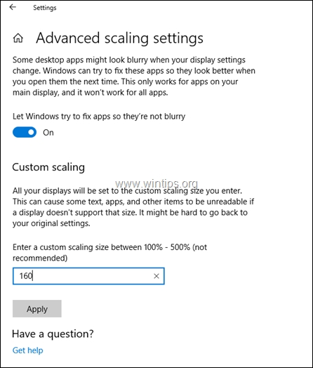 fix blurry fonts in apps windows 10