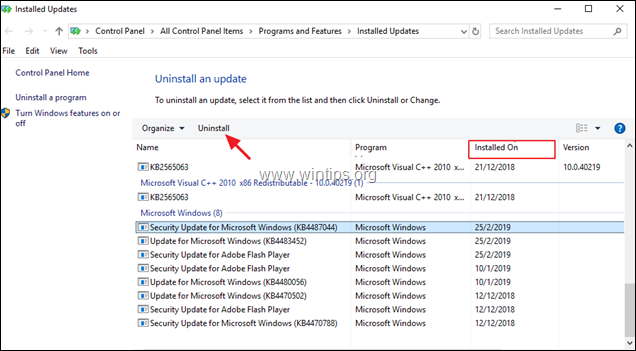 Uninstall Updates - Windows 10