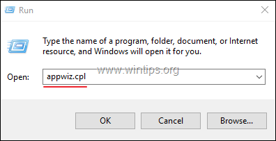 Open Programs & Features - Windows