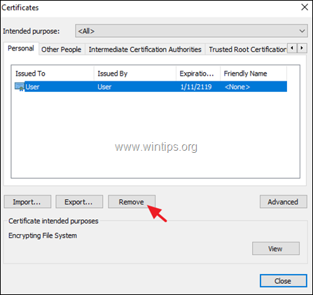 remove efs decryption certificate key