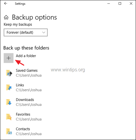 backup personal data file history