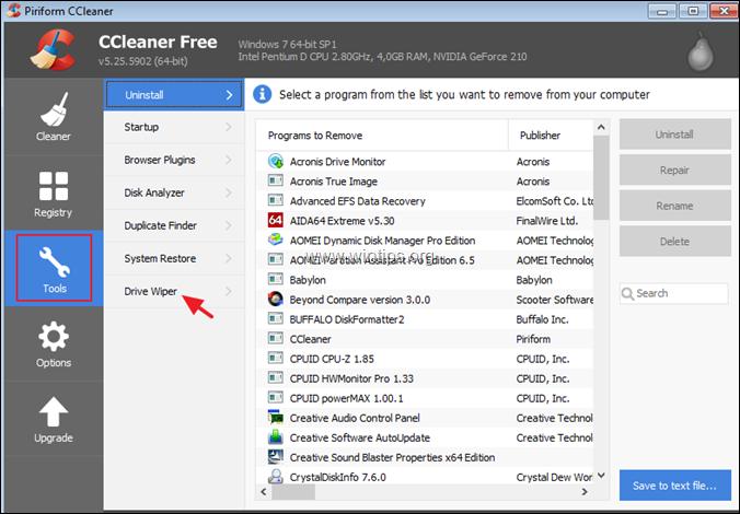 ccleaner - drive wiper