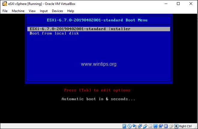 How to Install ESXi vSphere Hypervisor on VirtualBox host