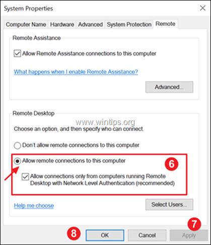 Allow Remote Desktop connectios Windows 10,