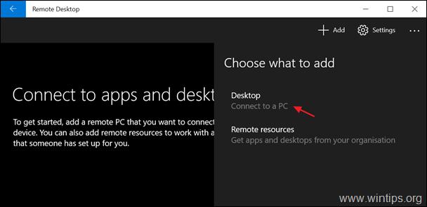 Add remote desktop computer