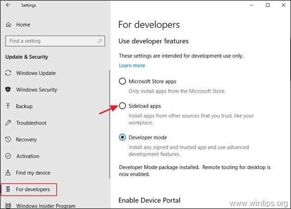 disable developer mode windows 10