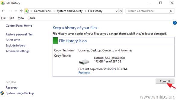 How to Turn Off File History