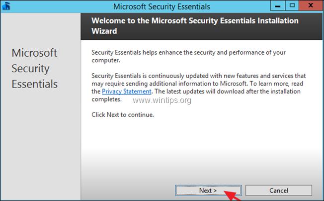 install microsoft security essentials server 2012