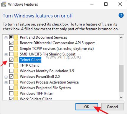 Windows Features - Turn On Telnet Client