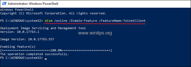 Enable Telnet Client PowerShell Windows 10