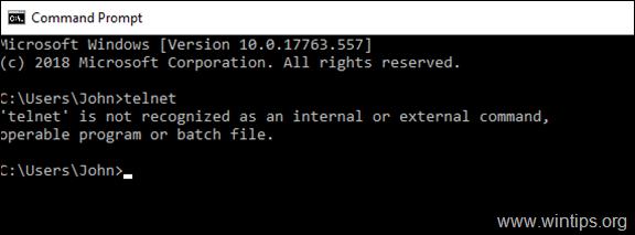 FIX Telnet is not recognized as an internal or external command - Windows 10