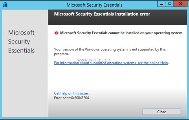 Security Essentials uninstall error 0x8004FF04