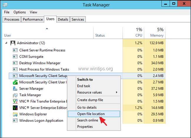 Uninstall Microsoft Security Essentials Server 2012